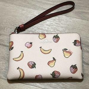 Coach Corner Zip Wristlet With Mixed Fruit Print